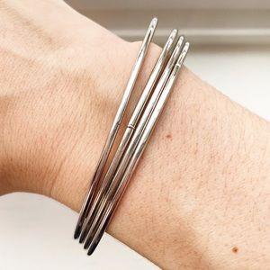 Vintage thin & dainty silver bangle bracelets